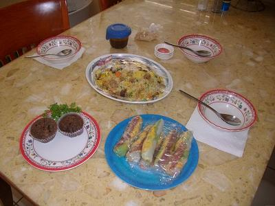 Delicious fried rice and spring rolls